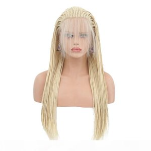 Box Braid Wig Blonde Glueless Synthetic Lace Front Wigs Heat Resistant Fiber Braided Box Braids For Black Women with Baby Hair