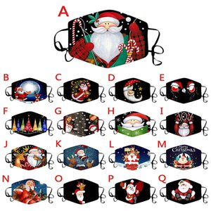 Christmas Mask Printing Civil Dustproof Multi-color Face Mask Hanging Ears 17 styles of Christmas Decorative Masks ZY1306