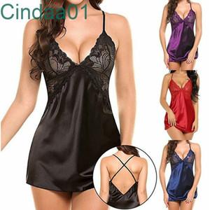Mulheres Lace Pijamas Designer 2021 Novo Estilo Slim Bare Back Hollow out sexy underwear imitação de gelo nightdress tentação tertina