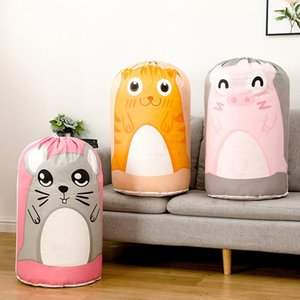 Cylindrical Tiger Pig Mouse Cartoon Drawtring Quilt Big Storage Bag for Clothes Pillows Blanket Reuseable Toy Packing Bag