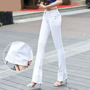 QBKDPU Artı Boyutu Renkli Pantolon Flare Pantolon Siyah Ve Beyaz Çan Alt Pantolon Seksi Parti Kulübü Kot Pantalones Para Mujer 210203