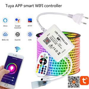 TUYA APP SMART WiFi LED Controlador AC 110V 220V RGB Controlador Strip de luz IR 24 Teclas Lámpara remota para luces de tira LED RGB