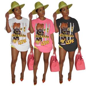 Free Shipping Women T shirt Tops Casual Dresses Elegant O-Neck Summer T shirt Dress Letter Print Women Party Mini Dresses Plus SizeTG6DKNVX
