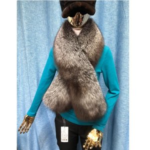 Fur collar 100% real silver fur scarf luxury fashion women men collar jackets genuine red wraps S16