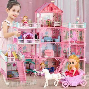 Qwz Новый Большой Размер Девушки Принцесса Вилла Игрушка Handmade Doll Дом Замок DIY Дом Игрушки Кукольные Домики День Рождения Подарки Развивающие игрушки LJ201126