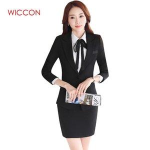 2020 Yeni Moda Sonbahar Kıyafetleri Kadın Suit Uzun Kollu Ol Biçimsel Röportaj İş Şık Etek Suit Wiccon