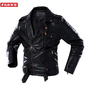 FGKKS inverno uomini giacca in pelle di modo retrò giacca in pelle di spessore trendy Brand Biker PU Giacche in pelle Maschio 201026
