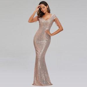 YIDINGZS 2020 Nova Mulheres Sequins Vestido Longo elegante decote em V Beading Party Dress YD9663