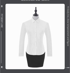Women's white twill long sleeve shirt Cotton autumn long sleeve solid color business shirt business dress wholesale