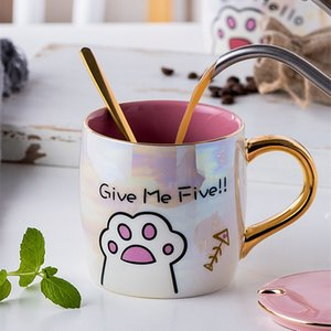 Ceramic mug lovely Cat paw pattern Breakfast milk cupCoffee cup Valentines gift Juice cup Leisure Mark Water Cup Kitchen utensi
