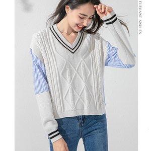 Cinessd Kore Gevşek Kazak Gömlek Dikiş Moda Hedging Stil 2020 Sonbahar Kış Yeni Kadın Gündelik Kazak