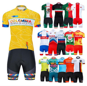 2020 New National Team Cycling Jersey Bib Set Bicycle Clothing MTB Uniform Quick Dry Bike Clothes Mens Short Maillot Culotte Suit colombia
