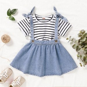Summer Girl di alta qualità del vestito della neonata casuale Skirt Set Stripe Shorts T-shirt + denim Suspender Skirt QwYE #
