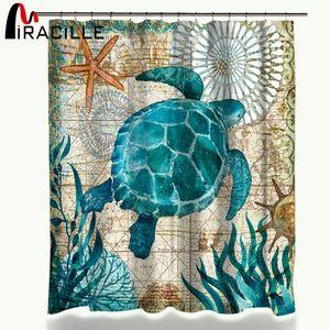 Miracille Turtle 샤워 커튼 방수 목욕 커튼 12 개와 욕실 용 폴리 에스터 패브릭 커튼 Q0121