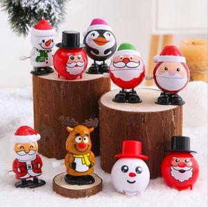 Weihnachten Kunststoff Mechanisches Spielzeug Weihnachtsmann Schneemann Uhrwerk Spielzeug Kinder Jump Geschenk Cartoon-Figuren Modelling-Partei-Dekoration OWE2066