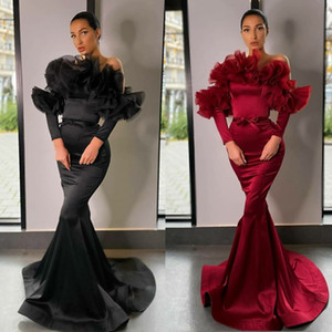 2020 New Satin Mermaid Evening Dresses Off Shoulder Ruffles Long Sleeve Elegant Prom Gowns Plus Size Special Occasion Dress