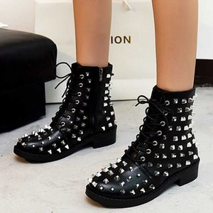 Women's Shoes Latest Ladies Footwear With Beautiful Design Fashion Women Boots Lace Up Rivet Decor Low Heel Big Size 43