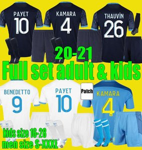 20 21 Olympique de Marseille Soccer Jersey Efants Kit 2020 2021 Om Maillot de Foot Payet Kamara Benedetto Hombres Juego de niños Camisa
