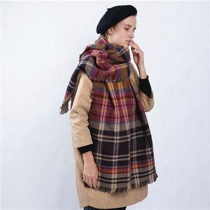 Luxury-Women Double Face Plaid Winter Soft Cashmere Scarf Shawl Wraps Thicken Scarves Warm Unisex Basic Blanket