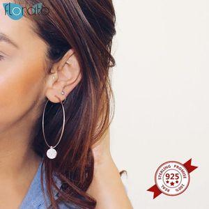 47mm 57mm Trendy Büyük Hoop Küpe Kadınlar Için 925 Ayar Gümüş Büyük Daire Küpe Brincos Loop Küpe Parti Jewelry1
