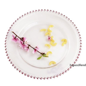 32cm Round Bead Plated Dishes Plates Glass Transparent Western Food Padding Plate Wedding Table Decoration Kitchen Tools GGA3205-1