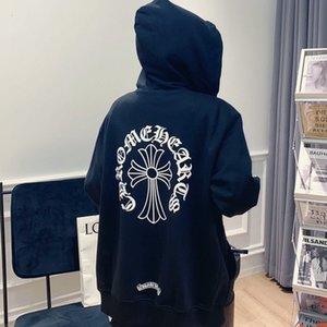 Chao Chunqiu Бренд Персонализированные Новые Croxin Мужчины и Женский Пуловерный свитер Sanskrit Cross Print OS Версия