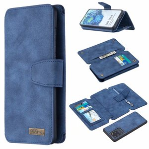 Retro Frosted Matte Zipper Leather Wallet Case For Samsung Note 20 S20 Ultra A81 A91 A51 A71 S10 Three-fold multi-function Holder Flip Cover
