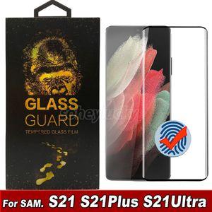3D Kavisli Durumda Dostu Temperli Cam Telefon Ekran Koruyucu için Samsung Galaxy S21 S20 S10 Note20 Artı Ultra S10 S8 S9 Cam Perakende Kutusunda