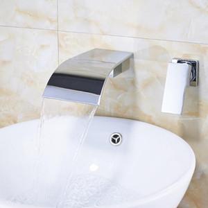 Uythner Chrome / Negro / Cepillado Níquel Baño Faucet Montado Montado Montado Sólido Baño Cascada Grifo Mezclador Grifo
