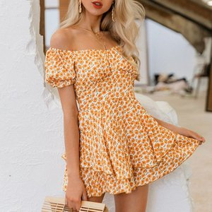 2020 Casual Off Shoulder Boho Print Summer Rompers Short Jumpsuit Women Fashion Ruffle Rompers Girl Beach Holiday Jumpsuits