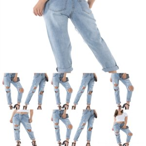 A7U Vestlinda Plus Tamaño Pantalones Zip Flyny Lápiz Jeans Engustado Casl Lady Jeans Mujeres Pantalones Pantalones Mediadas Cintura Romada Agujero Damas
