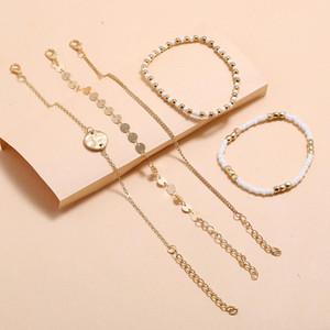 Women Fashion Charm Bracelets 5PCS Set New Handmade Beading Pendant Bracelet Summer Bohemian Beach Holiday Seaside Boho Bracelet Jewelry