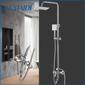 "KEMAIDI 1SET Bath Shower Faucets Set Bathroom Mixer Shower Bathtub Taps Rainfall Shower Wall torneira Tap 8 ""Shower head 1011"
