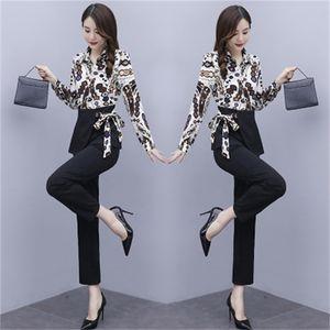 Design Lady of Office Piece Assembly Tuta Pantalon Garments Blazer Suits con i pantaloni Femme di Conbinaison delle donne FNC2