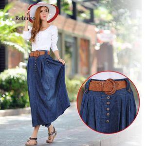 Осень и весенняя евраамериканская последняя мода плюс размер джинсовые плиссированные юбки Longuette Expansion юбки для женщин1