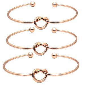 Knot heart bracelet open adjustable bracelets bangle cuff women fashion jewelry gold will and sandy new
