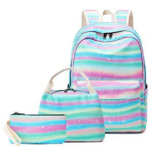2020 Girls School Backpack Stripe Schoolbag fit 14inch Laptop Bookbag for Teens Girls Kids School Bags Travel Daypack Y0119