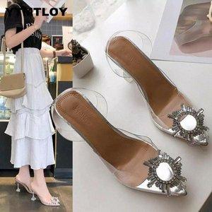 2021hot Lüks Kadınlar Şeffaf Yüksek Topuklu Pompalar Seksi Sivri Burun Slip-On Düğün Marka Moda Ayakkabı Lady PVC # ES9E