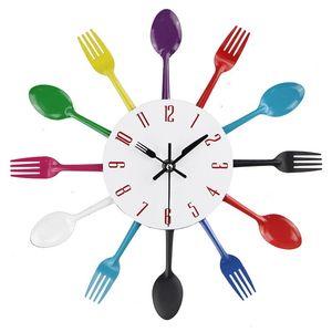 Wall clock digital metal spoon fork family kitchen modern quartz clock movement mute projection alarm clock decorative wall cloc