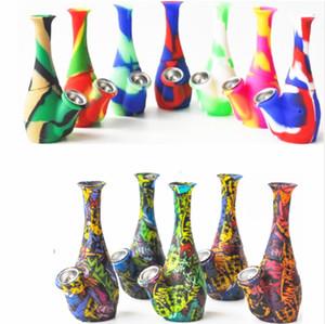 Shiftah-Vase-Form-Silikon-Bong-Raucher-Rohre Zwei Teile mit Metallschalenöl-Righs für Rauch Unzerbrechliche Druckbongs