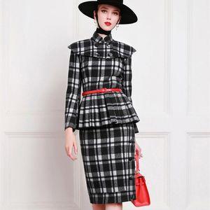 Vintage Plaid Skirt Suits Women Retro Elegant Autumn Winter Cotton Office Ladies Formal Two Piece Sets Outfits Clothes Female
