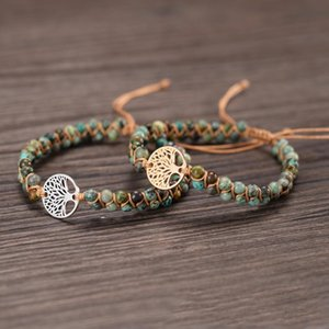 Natural Stone Yoga Wrap Bracelet Tree of Life Handmade Braid Bangles Bohemia Party Jewelry Charm Bracelets For Women