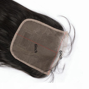 Brazilian Virgin Hair 6X6 Lace Closure With Baby Hair Six By Six Lace Closure 8-20inch Straight Body Wave Hair Products Middle Three Free