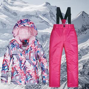 Дети Костюм Mutusnow водонепроницаемый теплый снег куртка и штаны сгущает Горные лыжи детский зимний комбинезон для девочек Сноуборд на открытом воздухе