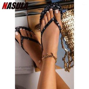Nasula mujer impresión chanclas zapatos de verano fresco playa impresión moda plana sandalias marca pisos zapatos sandalias niñas tamaño 36-431