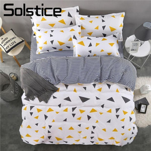 Solstice Home Textile Essential Bedding Stripe Brief Geometric Pattern Print Fashion Duvet Cover Pillowcase Bed Sheet King Size