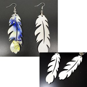 DHL100pairs sublimation earring DIY Feather Shaped earring manual blank eardrop best handwork for gift