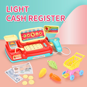 TW2008170 pretend play toys Light and music cash register with food and fruit