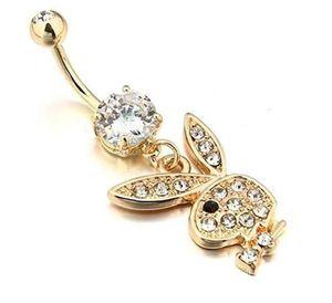 500pcs sexy bar Coelho banhado a ouro Dangle Umbigo Umbigo Anéis Body Piercing Jewelry R175