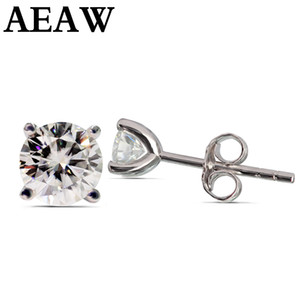 AEAW Moissanite Earrings 3mm And 4mm Diamond Stud Earrings Sterling Silver Classic Lab Diamond 4 Prong Earrings for Women 201116